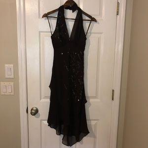 BCBGMAXAZRIA Brown Sequin Halter Dress